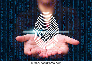 fingerprint scanning technology. fingerprint to identify personal, security system concept