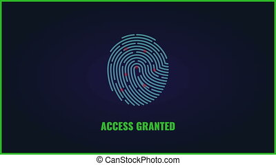 Fingerprint scanning video. Finger print access granted animation