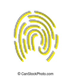 Fingerprint sign illustration. Vector. Yellow icon with square p