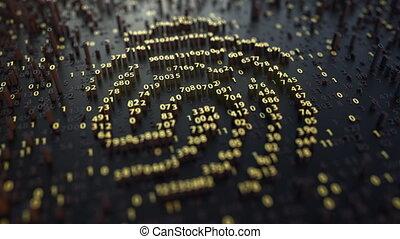 Fingerprint sign made of fluctuating golden numbers -...