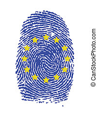 Fingerprint stamp on white paper for European Flag...