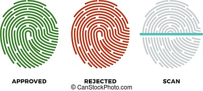 Fingerprint thumbprint vector icons set. Approved, rejected and scan symbols
