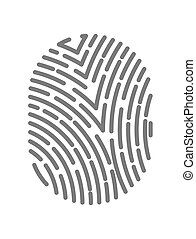 Fingerprint type with dashed line signs isolated on white background