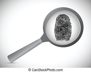 fingerprint under a magnify glass.