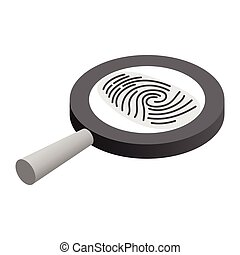 Fingerprint under a magnifying glass