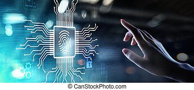 Fingerprint unlock cyber security data protection concept on virtual screen.