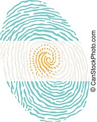 Fingerprint vector colored with the national flag of Argentina
