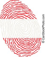 Fingerprint vector colored with the national flag of Austria