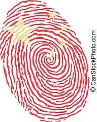 Fingerprint vector colored with the national flag of China