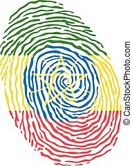 Fingerprint vector colored with the national flag of Ethiopia