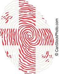 Fingerprint vector colored with the national flag of Georgia