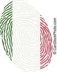 Fingerprint vector colored with the national flag of Italy
