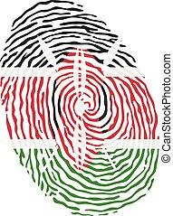 Fingerprint vector colored with the national flag of Kenya