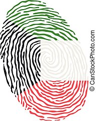 Fingerprint vector colored with the national flag of Kuwait