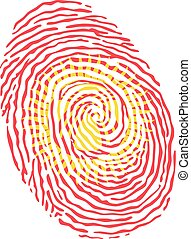 Fingerprint vector colored with the national flag of Kyrgyzstan