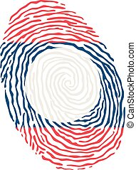 Fingerprint vector colored with the national flag of Laos