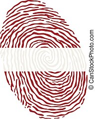 Fingerprint vector colored with the national flag of Latvia