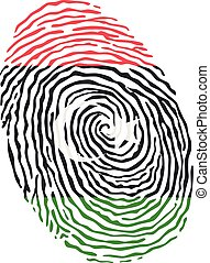 Fingerprint vector colored with the national flag of Libya