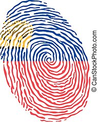 Fingerprint vector colored with the national flag of Liechtenstein