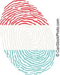Fingerprint vector colored with the national flag of Luxembourg