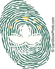 Fingerprint vector colored with the national flag of Macao