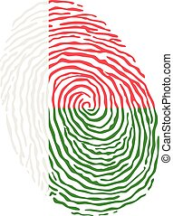 Fingerprint vector colored with the national flag of Madagascar