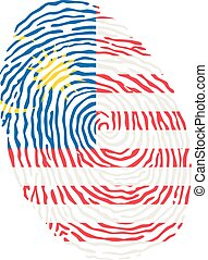 Fingerprint vector colored with the national flag of Malaysia