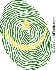 Fingerprint vector colored with the national flag of Mauritania