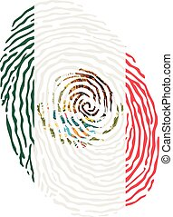 Fingerprint vector colored with the national flag of Mexico