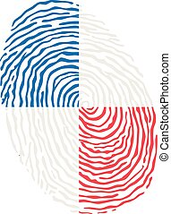 Fingerprint vector colored with the national flag of Panama