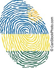 Fingerprint vector colored with the national flag of Rwanda