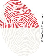 Fingerprint vector colored with the national flag of Singapore