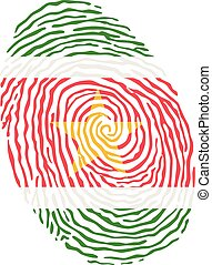 Fingerprint vector colored with the national flag of Suriname