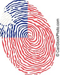 Fingerprint vector colored with the national flag of Taiwan