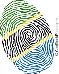 Fingerprint vector colored with the national flag of Tanzania