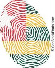 Fingerprint vector colored with the national flag of Togo