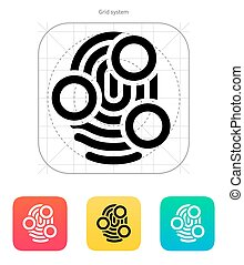 Fingerprint whorl type scan icon.