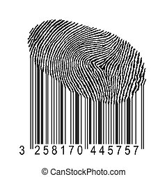 fingerprint with bar code - identity concept illustration, ...