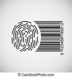 Fingerprint with barcode, vector illustration