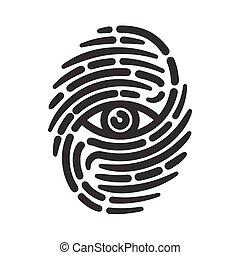 Fingerprint with eye inside. Conceptual security logo or...