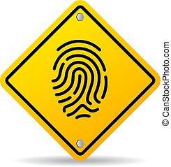 Fingerprint yellow vector sign isolated on white background