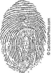 Fingerprints - Fingerprint made with binary code, futuristic...