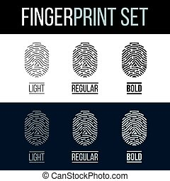 Fingerprints Icons Set for Identity Person on Dark and White...