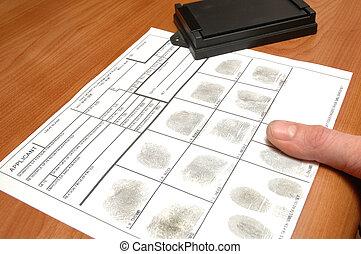 Fingerprints on ID card - taking fingerprints on ID card