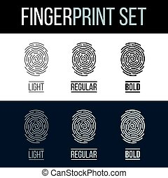 Fingerprints Set Print for Identity Person on Dark and White