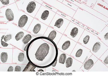 Fingerprints - A forensic inspector looks at a suspect...