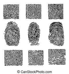A print of a human finger. Dactyloscopy