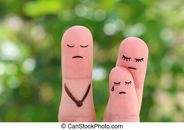 Fingers art of family during quarrel. Concept mother does not gives the child to communicate with his father. Idea parents divorced, kid remained with mom.