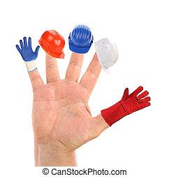 fingers., chapeau dur, main