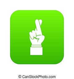 Fingers crossed icon digital green
